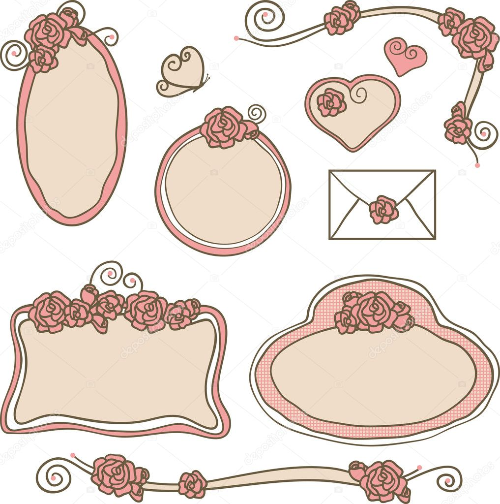 Rose frames and borders - Stock Illustration