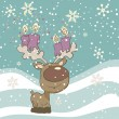 Cute Reindeer with Candles — Stock vektor