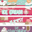 Summer Sweets Banners - Stok Vektr