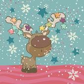 Cute Reindeer blowing Snowflakes — Stock Vector