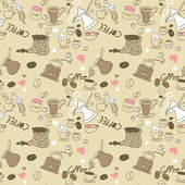 Seamless Doodle Coffee pattern — Stock Vector