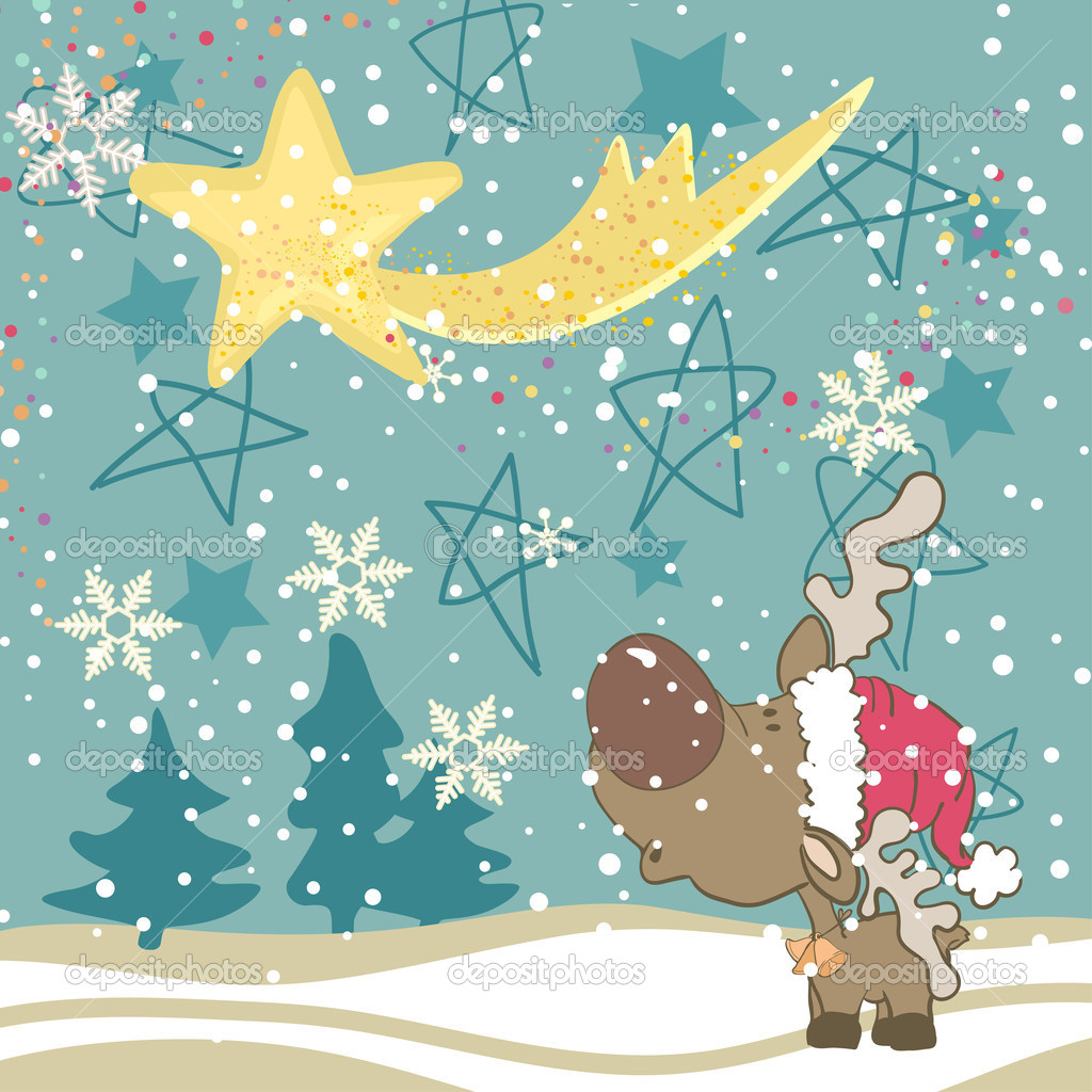 Reindeer looking in the Falling Star — Stock Vector #3743244