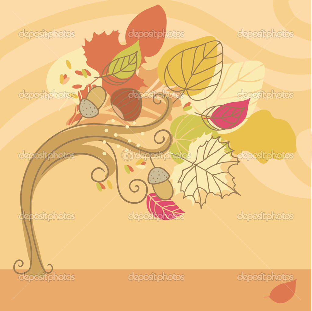 Autumn Tree on a Windy day — Stock Vector #3743449
