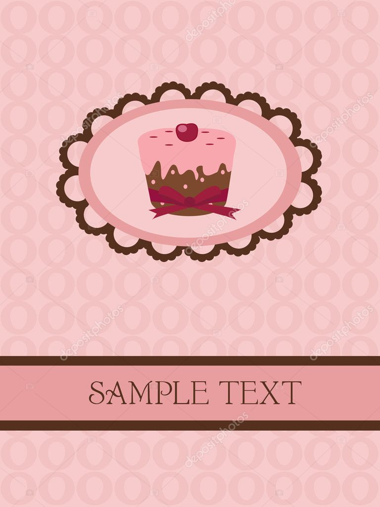 Lovely cupcake - vintage card design — Stock Vector #2740017