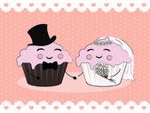 Cupcake wedding couple — Stock Vector