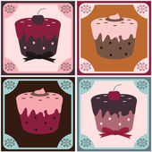 Cupcake set — Stock Vector