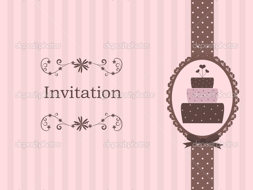 Cake Design Rivista Download : Cute invitation with cake   Stock Vector ? hollymolly #3201129