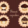 Sweet cupcake set — Stock Vector