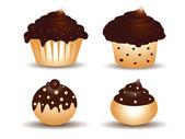 Chocolate cupcake set — Stock Vector