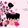 Royalty-Free Stock Vector Image: Floral background with cupcake and birds