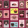 Cupcake postage stamps - Vettoriali Stock 
