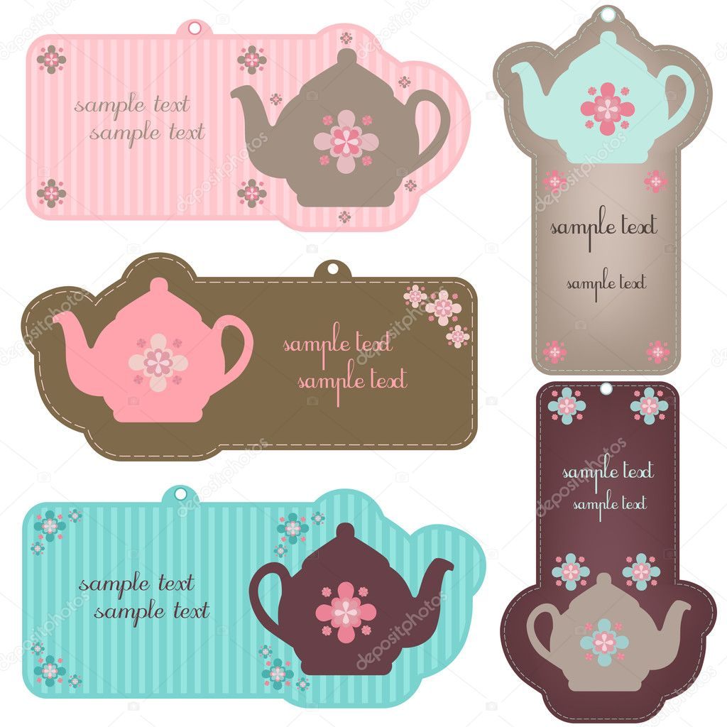 Vector illustration of teapot tags  - set — Stock Vector #3429619