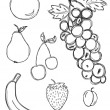 Hand drawn fruit set - Stock Vector