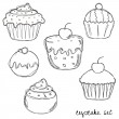 Hand drawn cupcake set - Stock Vector