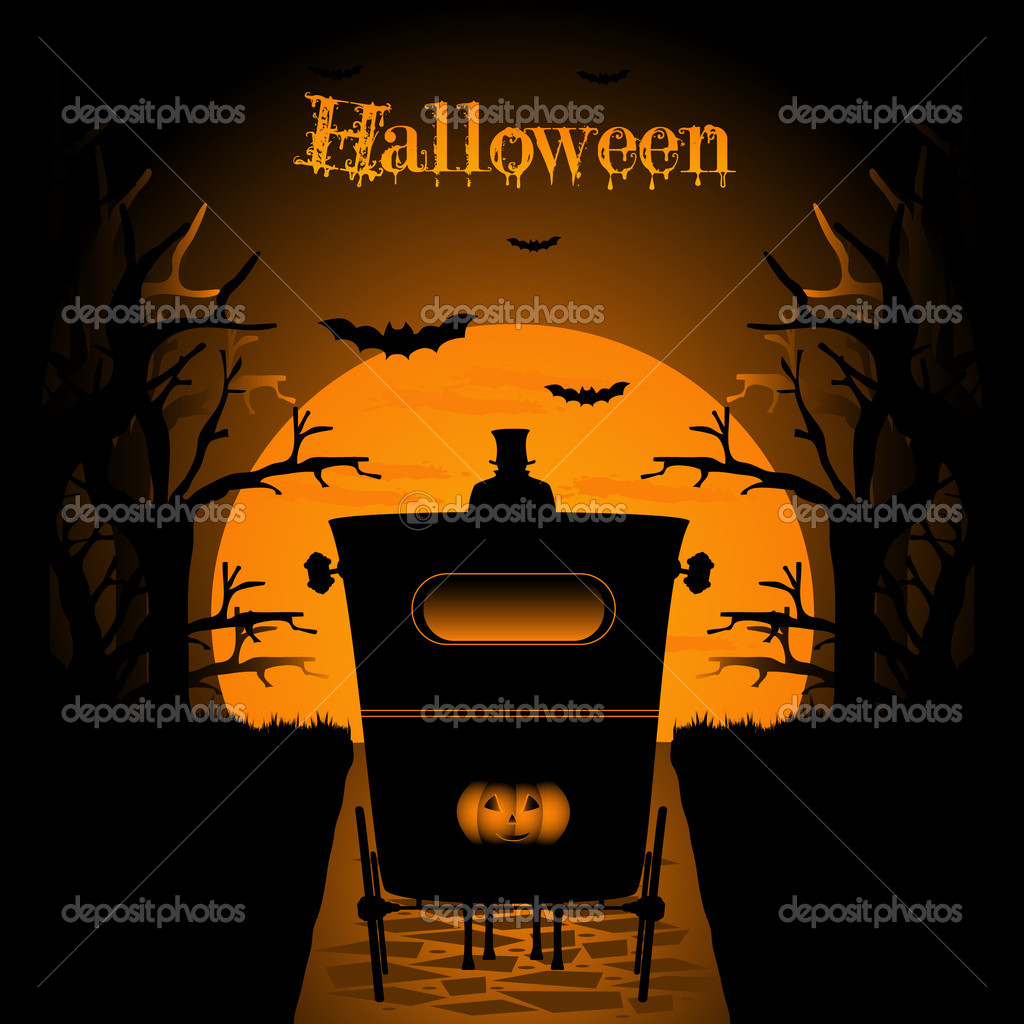 Halloween night background with carriage — Stock Vector #3757839