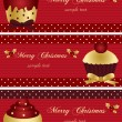 Christmas banners with cupcake — Stock Vector