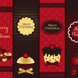 Christmas banners with cupcake - Stock Vector