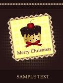 Christmas card with cupcake — Stock Vector