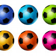 Colored soccer football balls — Stock Photo #3203724
