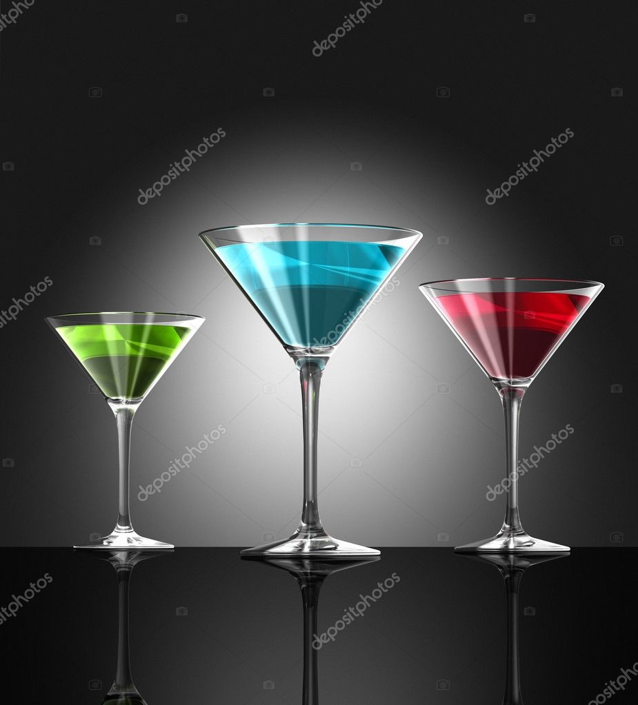 Three transparent blue red and green cocktail glasses reflecting on bar surface. three dimensional illustration — Stock Photo #3203604