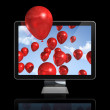 Red balloons in a 3D tv screen — Stock Photo