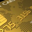Gold credit card, macro 3D render — Stock Photo