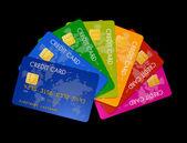 Färgade kreditkort — Stockfoto