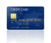 Mavi kredi kartı ile dünya haritası — Stok fotoğraf