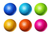 Colored soccer football balls — Stock Photo