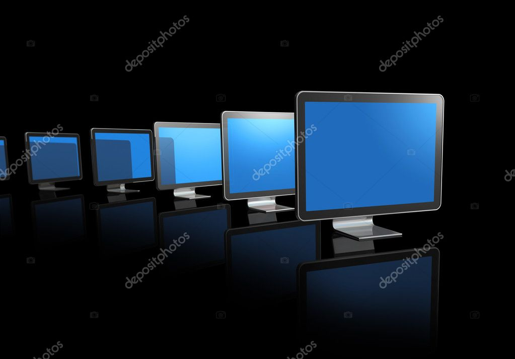Many 3D television, computer screens isolated on black  Stock Photo #3505697
