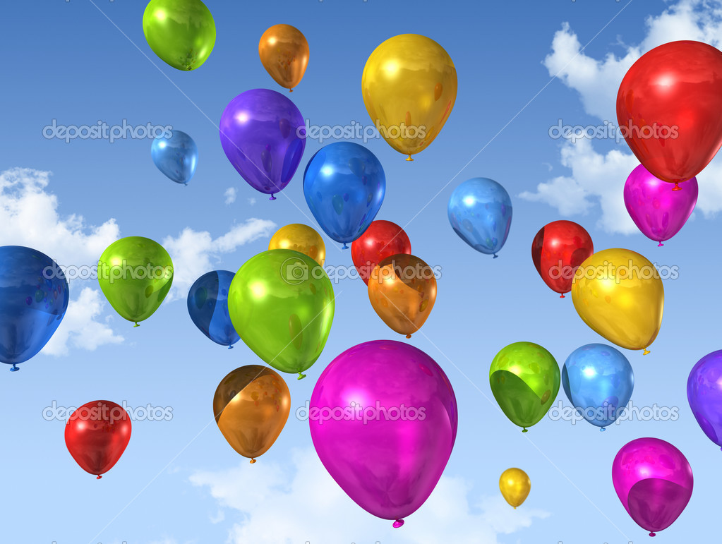Colored air balloons floating on a blue sky  Stock Photo #3505735