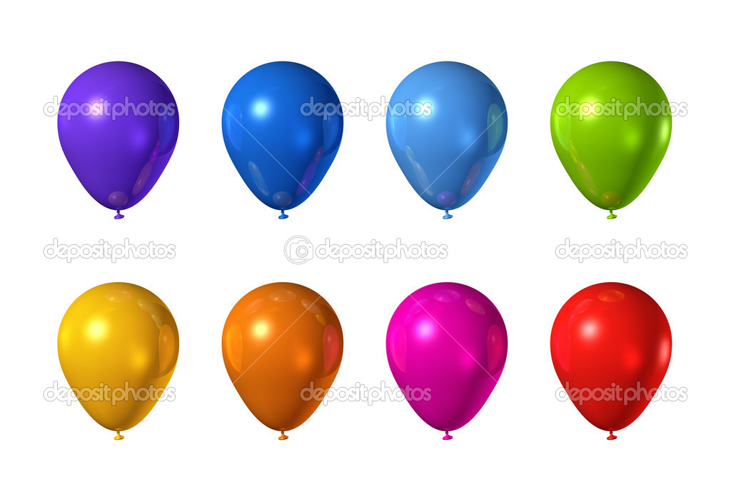 Colored balloons isolated on a white background — Stock Photo #3505750