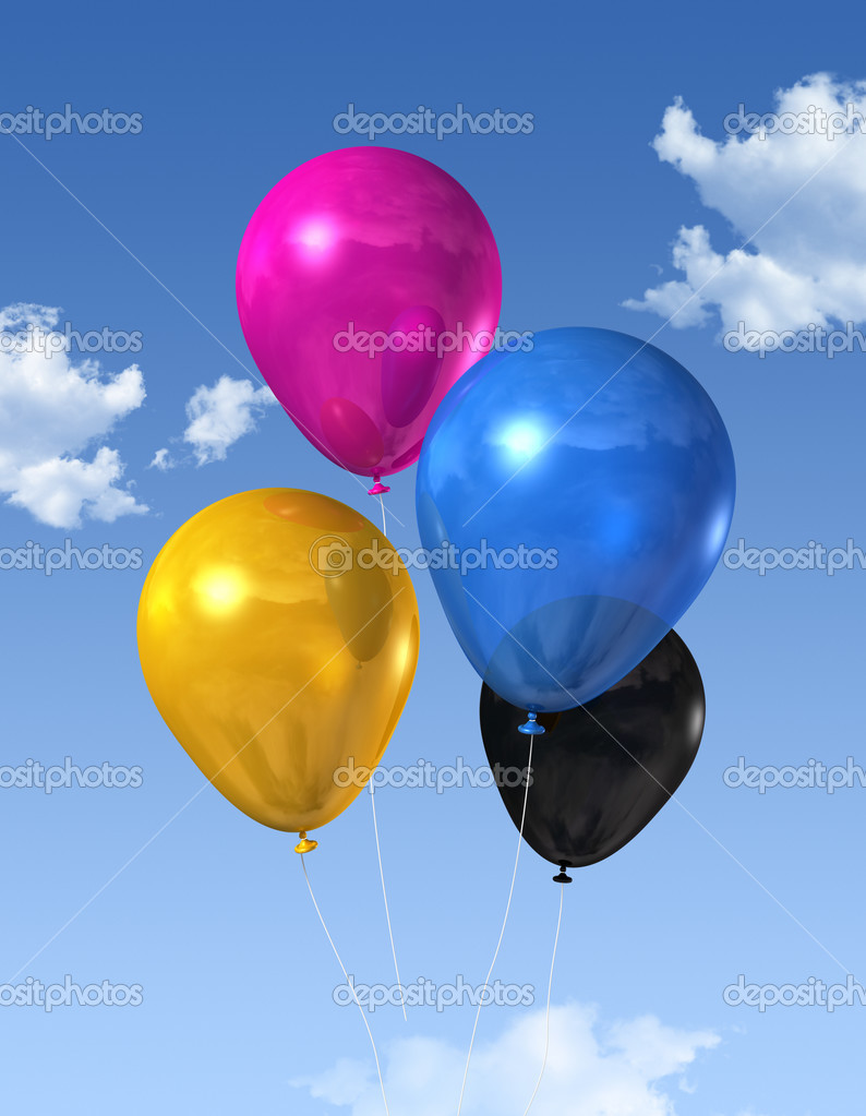 CMYK primary colored air balloons floating on a blue sky  Stock Photo #3505822