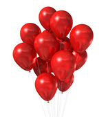 Red balloons group isolated on white — Stock Photo