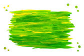 Green-yellow acrylic paint frame/blot on white — Stock Photo
