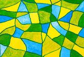 Zelená modrá žlutá akryl malovaný mozaika — Stock fotografie