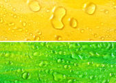Yellow and green set of backgrounds with water drops — Stock Photo