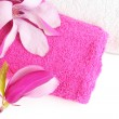 Magnolia blossoms and bath towels on white — Stock Photo
