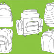 Rucksacks collection - Stock Vector