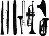 Brass musical instruments — Stock Vector