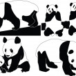 Royalty-Free Stock Immagine Vettoriale: Panda collection
