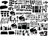 Big collection home items — Vector de stock