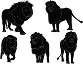 Lions collection silhouette - vector — Stock Vector