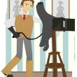 Photographer taking picture old camera — Stock Vector