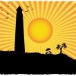 Royalty-Free Stock Imagen vectorial: Silhouette lighthouse beach sunny rays