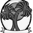 Twin Palm Sun Badge Grayscale — Stock Vector