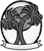 Twin Palm Sun Badge Grayscale — Stock Vector