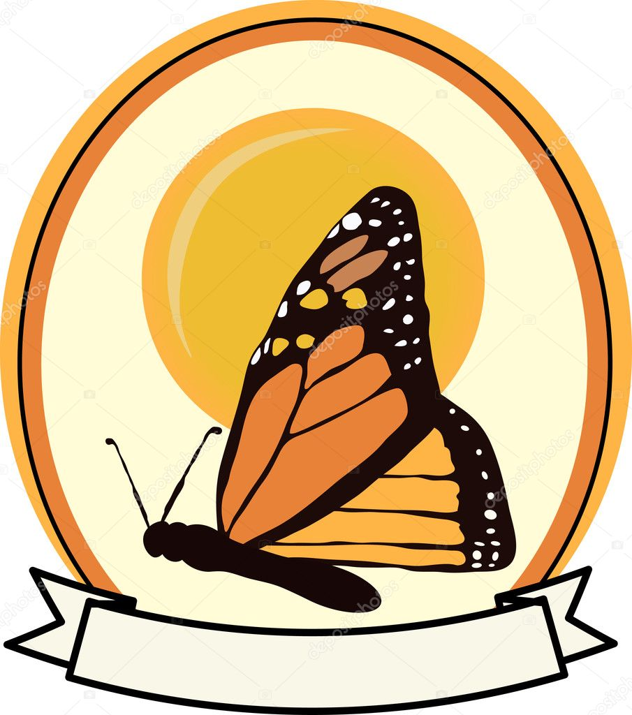Orange, white and yellow butterfly in front of sun cartoon oval blank text banner — Stock Vector #2770876