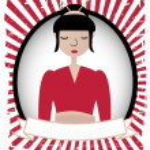 Geisha Girl Illustration Blank Banner Ad — Stock Vector