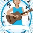 Cartoon girl playing acoustic guitar - Stock Vector